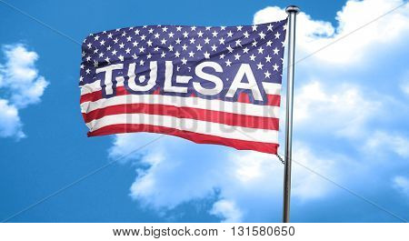 tulsa, 3D rendering, city flag with stars and stripes