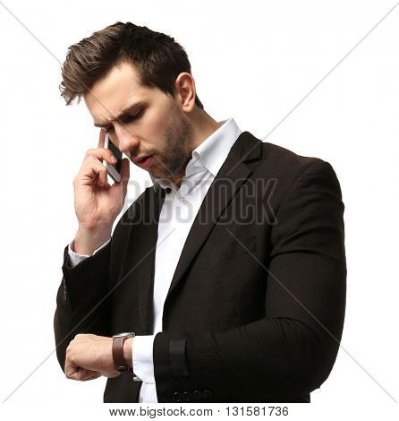 Businessman running late for work on white background