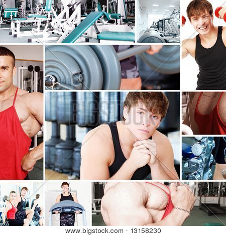 Collage of sporty pictures: people, equipment. poster