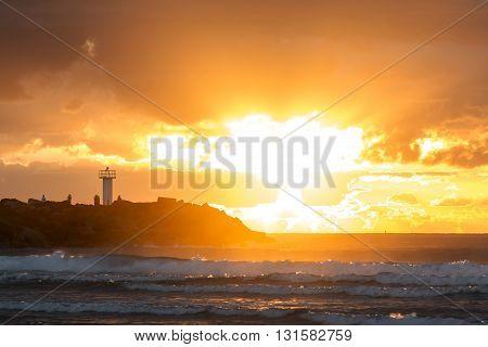 Gold Coast Australia - The Spit, close up of sunrise over the breakwall
