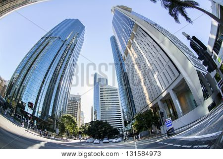 BRISBANE, AUSTRALIA - MAY 25 2016: Fisheye view looking up at Brisbane cityscape on Eagle Street near Riparian Plaza