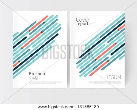 Vector set abstract geometric background / red and blue Diagonal lines intersect. White business brochure cover template EPS 10