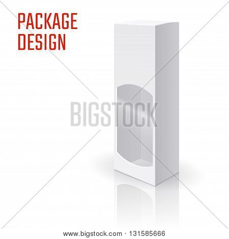 Vector Illustration of Gift craft Box for Design, Website, Background, Banner. Folding package vine bottle Template. Clear Fold alhogol pack for your brand on it. White Mockup