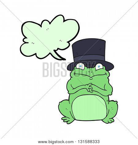 freehand drawn speech bubble cartoon frog in top hat
