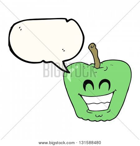 freehand drawn speech bubble cartoon grinning apple