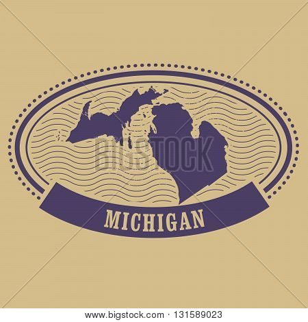 Michigan state map silhouette - oval stamp