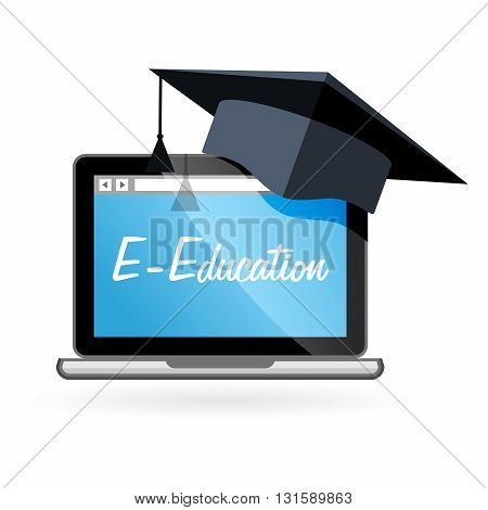 Distance learning - laptop and academic hat e-education