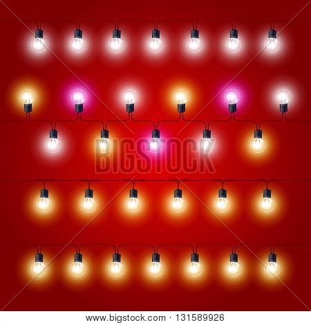 Straight lines of Christmas Lights - carnival electric bulbs strung