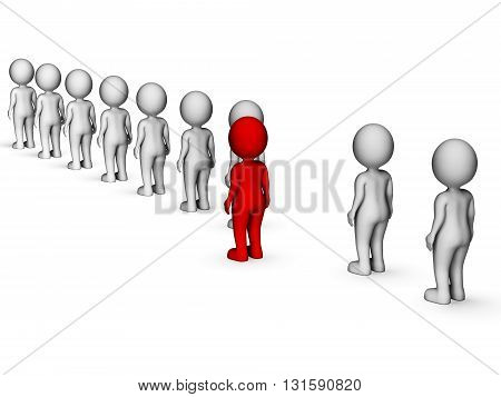 Unique Disagree Represents Stand Out And Men 3D Rendering
