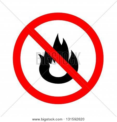 No Fire flame sign icon. Fire symbol. Stop fire. Escape from fire. Red prohibition sign. Stop symbol. Vector