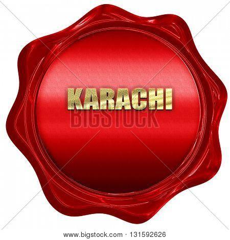 karachi, 3D rendering, a red wax seal