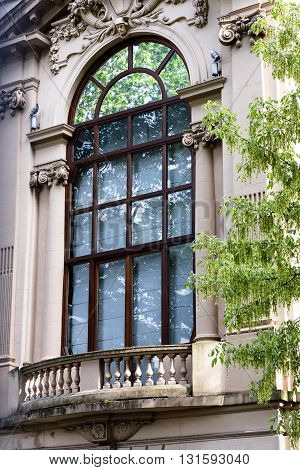 Milan (Lombardy Italy): window and balcony of historic palace in Citylife