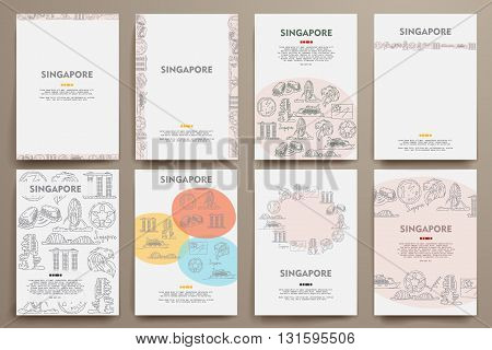 Corporate identity vector templates set with doodles Singapore theme. Target marketing concept
