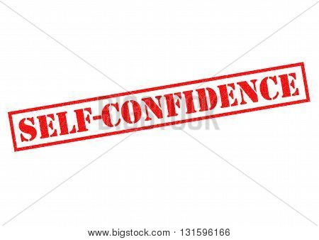 SELF CONFIDENCE red Rubber Stamp over a white background.