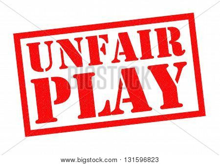 UNFAIR PLAY red Rubber Stamp over a white background.