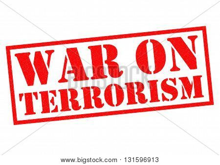 WAR ON TERRORISM red Rubber Stamp over a white background.