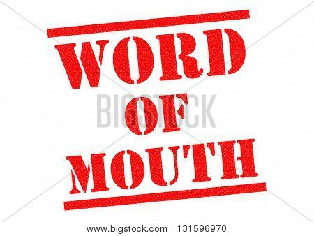 WORD OF MOUTH red Rubber Stamp over a white background.