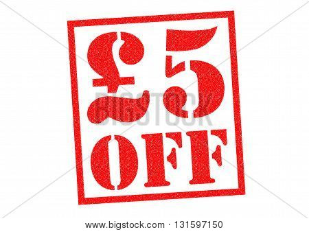 £5 OFF red Rubber Stamp over a white background.