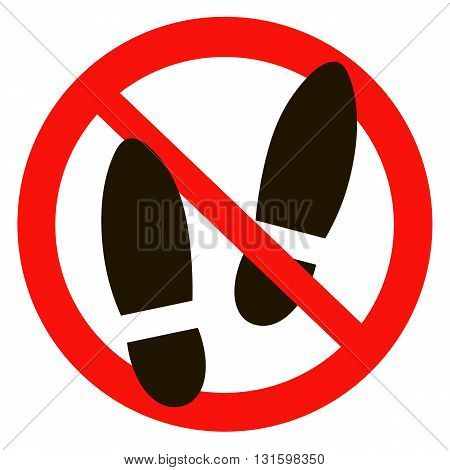 No shoes sign warning. Prohibited public information icon. Not allowed shoe symbol.