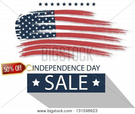 Independence Day. Sale. USA. American flag. Vector