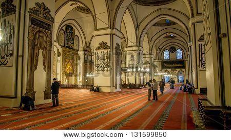 Edirne, Turkey - April 19, 2014: Interiors of The Old Mosque (Eski Cami) in Edirne
