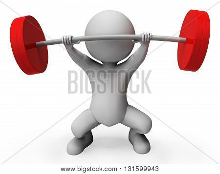 Weight Lifting Represents Bar Bell And Athletic 3D Rendering