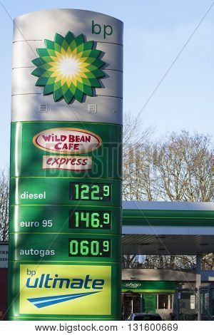 Enkhuizen, the netherlands - 4 february ,2015: BP gas station prices Oil based fuel prices have recently dropped