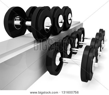 Exercise Gym Represents Workout Equipment And Exercises 3D Rendering