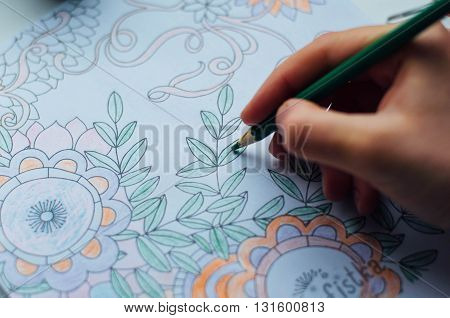 poster of Image of woman coloring, adult coloring book trend, for stress relief. top view. colorer - antistress with colored pencils. Adult coloring books. The woman draws thereby relieves stress