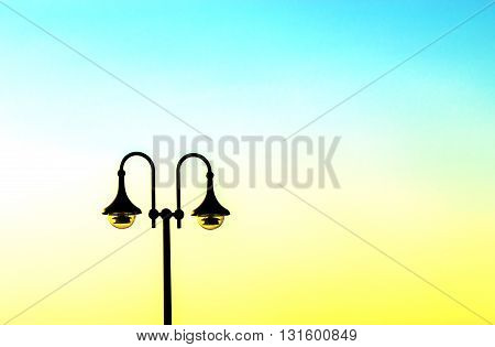 Vintage street lamp against sky, latern and streetlight .