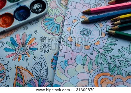 Image Of Woman Coloring, Adult Coloring Book Trend, For Stress R