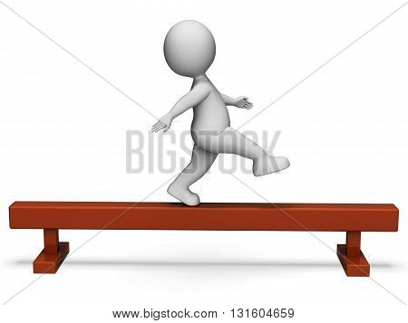 Balance Beam Represents Get Fit And Exercise 3D Rendering