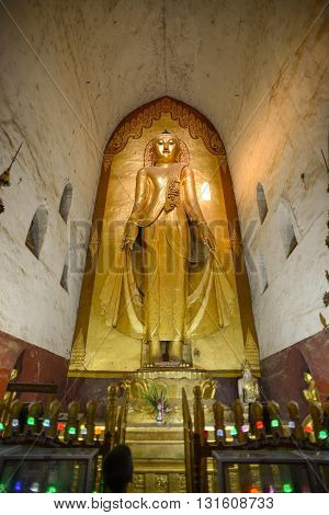 Bagan, Myanmar - April 22, 2016 : Standing Buddha Konakamana at East of the Ananda temple