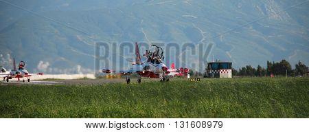 IZMIR/TURKEY-JUNE 5, 2011 : Turkish Air Force (TURAF)   Turkish Stars Display Team at the 2nd Main Jet Base-Cigli for Airshow. June 5, 2011-Izmir/Turkey