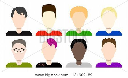 Flat avatars of boys vector icons set male student flat avatar man team icon set young boys diverse image diversity in class men students avatar icons flat style avatars male intern avatar set