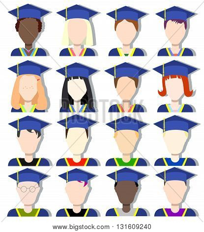 School graduates vector avatar set school class on graduation day student in graduation uniform student avatar graduate icon graduated student class diverse graduates scholar in graduation cap