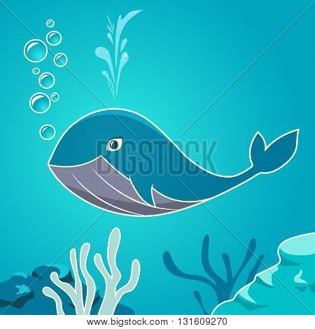 Cartoon blue whale under water. Whale on a background seabed. Undersea world