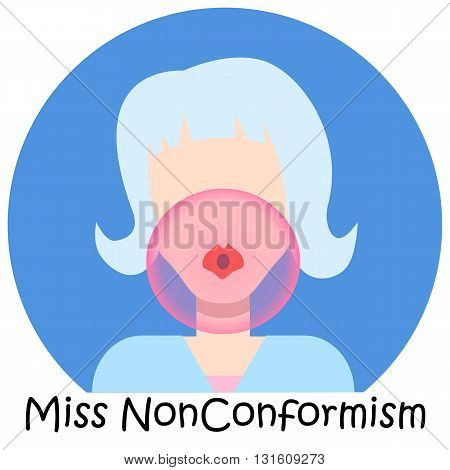 Pretty woman avatar icon with pink bubble gum miss nonconformism single vector avatar for girl hairstyle girl flat avatar flat avatar icon for woman hipster girl avatar icon stylish girl avatar