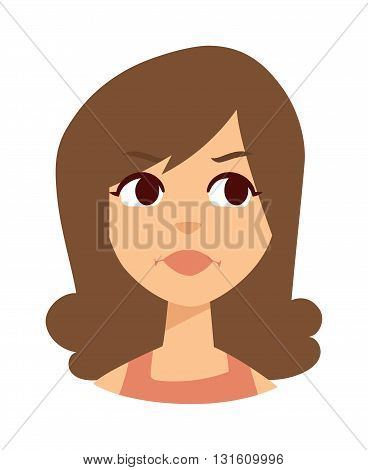Sadness woman vector illustration. Sadness beautiful woman and unhappy depressed face sadness woman.  Stress beauty emotion loneliness sadness woman and pain expression attractive sadness woman.