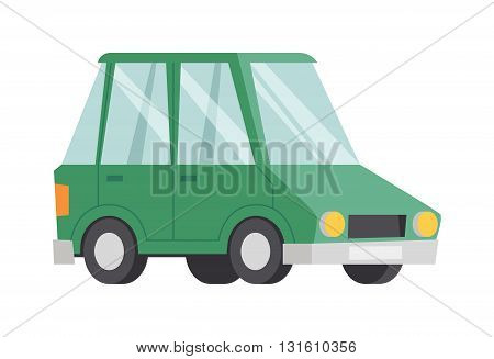 Illustration green car transportation technology and green car performance concept. Green car vehicle, transport and energy environment green car. Green car fuel electric motor cartoon drive.