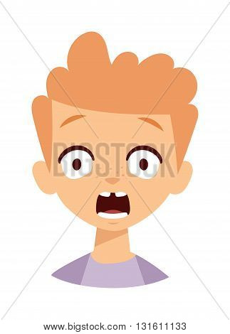 Boy makes scary face. Scary boy face vector and cute little scary boy. Cartoon character scary boy emotion face and scary boy sadness innocence bad mood. Cute kid expression emotion face.