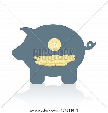 Piggy Bank With Coins. Conceptual Vector Illustration Of A Money Box With Coins In It.