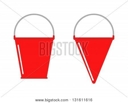 Traditional bright red metal fire bucket isolated and fire bucket vector icon. Red fire bucket safety emergency icon and fire bucket metal equipment. Protection prevention sand fireman fire bucket.