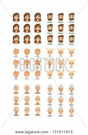 Group of different people faces and People faces diversity group. People faces vector character and people faces set. Cute children people faces and different senior head cheerful diverse people.