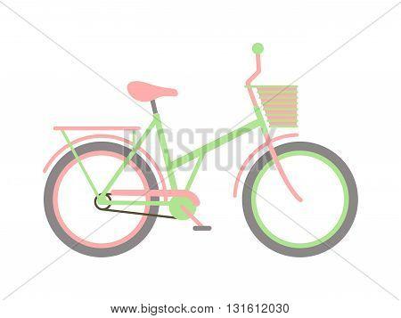Girl bike basket flowers and girl bike vector cartoon travel cycle. Girl bike happy sport leisure and girl bike urban ride fashion healthy transport. Old wheel, road biking, leisure style street bike.
