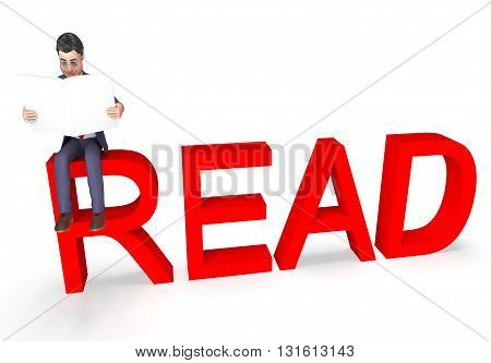 Read Character Shows Non Fiction And Book 3D Rendering