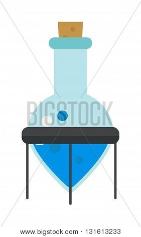 Laboratory glassware chemistry flask with colored liquids and chemistry flask reflective table over white background. Chemistry flask vector icon and chemistry flask biology medicine tube.