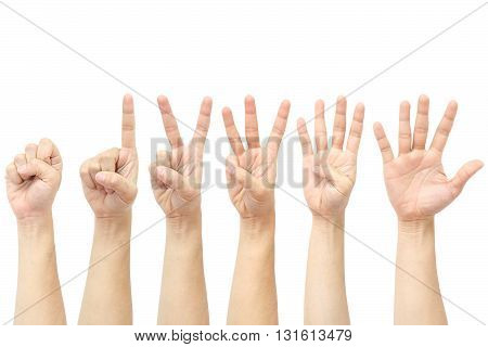 hands counting from 0 to 5 isolated on white background