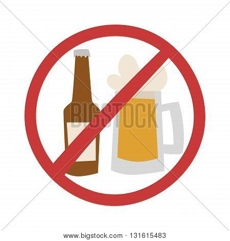 Stop drink no beer design and vector illustration stop drink. Stop drink alcohol glass no sign. Beer symbol forbidden alcoholism stop drink and alcoholic warning concept stop drink.