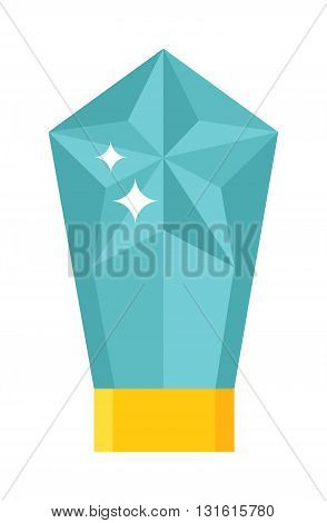 Beautiful rock crystal magic stone and magic crystal blue fantasy bright future vector icon. Fortune magic crystal and reflection abstract nature esoteric magic crystal. Mystery magic crystal.